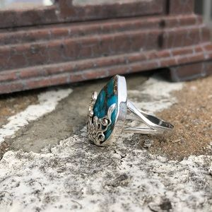 Jewelry - Turquoise Blue Copper Sterling Silver Ring Sz 8.5
